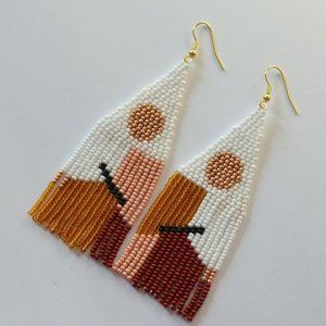 Long Golden Pastel Peach White Terracotta Earrings